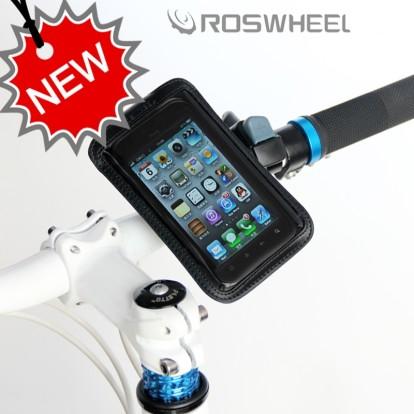 Фото велосипедный держатель для телефона на руль Roswheel кожаный черный размер iPhone 5