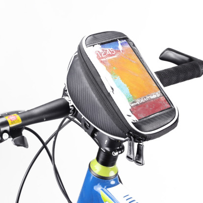 """Фото велосумка на руль с держателем для телефона Roswheel черная размер 5,5"""""""