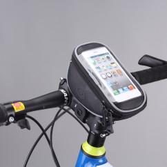 Фото велосумка на руль с держателем для телефона Roswheel черная размер S