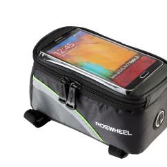 Фото Велосумка на раму с держателем для телефона черно-зеленая