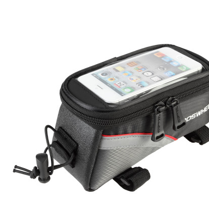 Фото велосумка на раму с держателем для телефона черно-красная