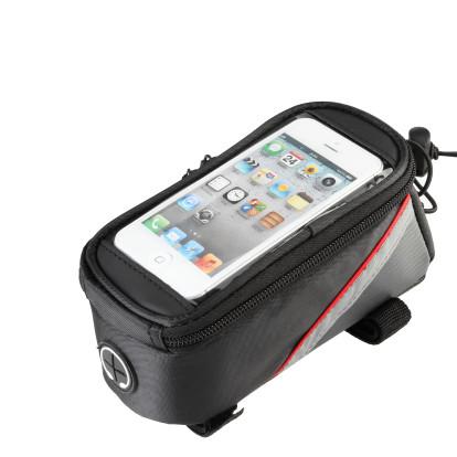 Картинка велосумка на раму с держателем для телефона до 4,8 дюйма