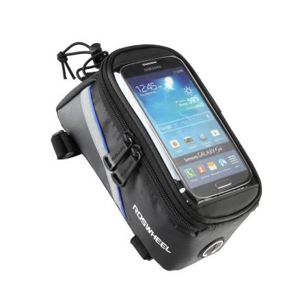 Фото Велосумка на раму с держателем для телефона черно-синяя