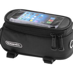 артинка велосумка на раму с держателем для телефона до 5,5 дюйма черная