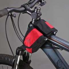 Картинка велосумка на раму мини Roswheel черно-красная