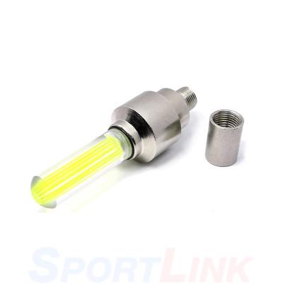 Фото светящийся колпачок на ниппель для велосипеда желтый