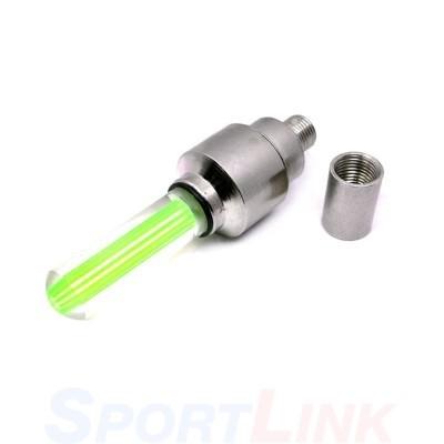 Фото светящийся колпачок на ниппель для велосипеда зеленый