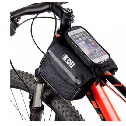 Фото велосумка на раму с держателем для телефона BOI с двумя карманами черная