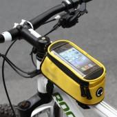 Фото велосумка на раму с держателем для телефона Roswheel красная