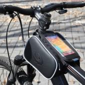 """Фото велосумка на раму с держателем для тел. до 5,5"""" Roswheel с двумя карманами черная"""