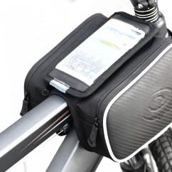 """Фото велосумка на раму с держателем для тел. до 5,7"""" Roswheel с двумя карманами черная"""