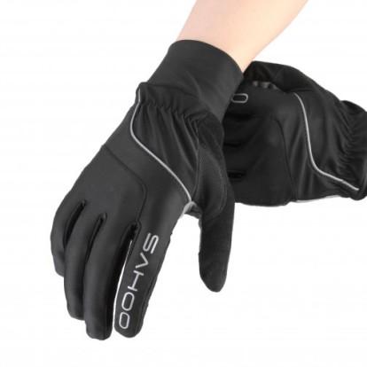 Фото перчатки для велосипеда Sahoo черные, зимнее с пальцами
