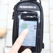 """Фото Велосумка на раму с держателем для телефона до 4,8"""" Roswheel черная"""