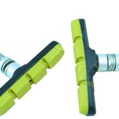 Картинка колодки тормозные для велосипеда Baradine MTB-947V 70 мм зеленые