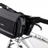 Фото сумка на руль велосипеда Roswheel двойная с ремнем через плече черно-серая