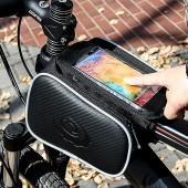 Картинка велосумка на раму с держателем для тел. Roswheel с двумя карманами черная