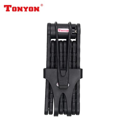 Фото замок для велосипеда на ключ из пластин с креплением на раму (черный)