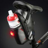 Сумка под седло Roswheel с держателем для фляги и габаритным огнем, черная