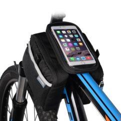 Велосумка на раму для телефона до 5,7' + накидка от дождя.