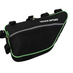 Фото Сумка под раму велосипеда Vinca Sport, большая, черно-зеленая