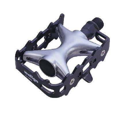 Фото педали под туклипсы для велосипеда Wellgo LU-964, алюминиевые, черные