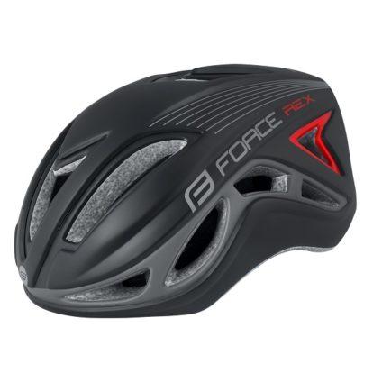 Фото велосипедный шлем FORCE REX, черно-серый, S-M