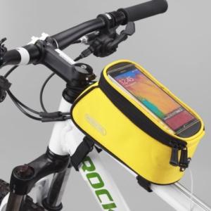 """Велосумка на раму с держателем для телефона до 5"""" Roswheel, желтая"""