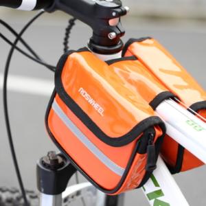 Велосумка на раму кожа-полиуретан Roswheel, оранжевая