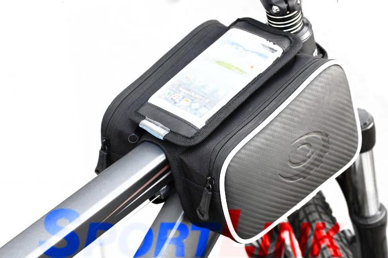 """Велосумка на раму с держателем для тел. до 5,7"""" Roswheel с двумя карманами, черная"""