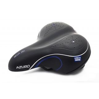 Седло для велосипеда с пружинами Vinca Sport Azuro, черное-синее