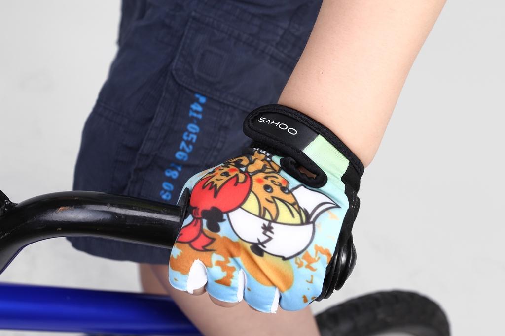 Велоперчатки детские Sahoo голубые размер M
