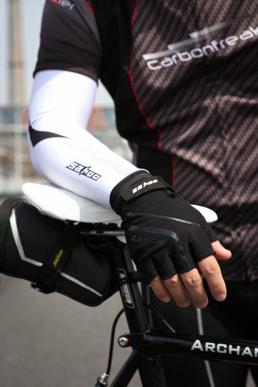 Рукава Sahoo (манжеты) для езды на велосипеде, бело-черные, размер XXL