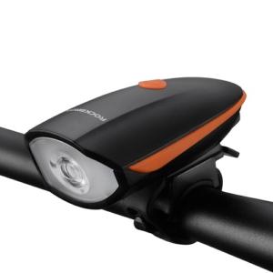 Фонарь передний 250Lum для велосипеда с электросигналом Rockbros, черно-оранжевый