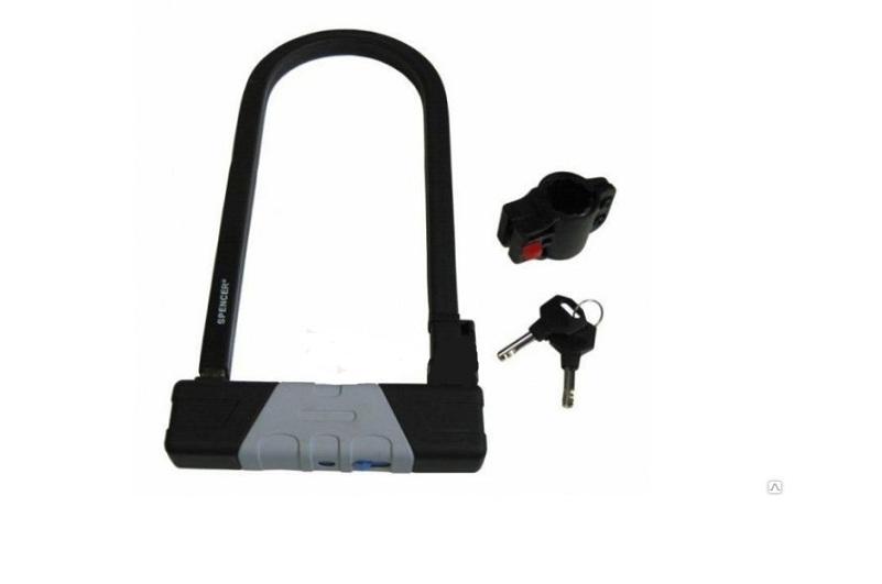 Велозамок U-Образный на ключ SPENCER, черно-серый