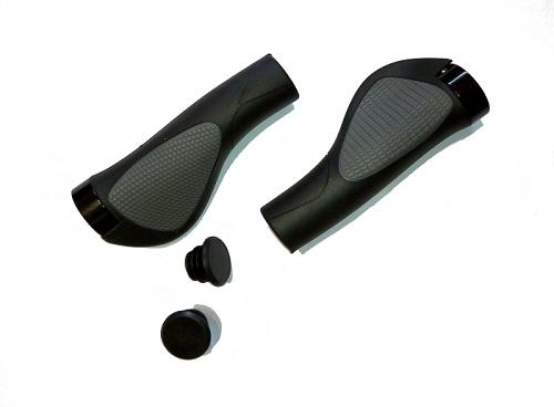 Грипсы эргономичные на руль велосипеда, Joykie , черно-серые, 130 мм