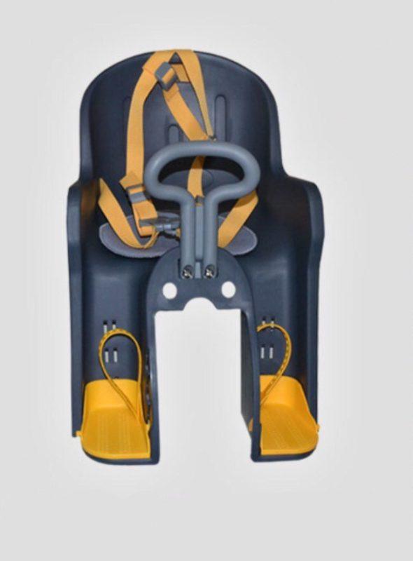 Вело кресло для ребенка на раму с ручкой серо-желтое, на раму