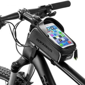 """Велосумка на раму Rockbros с держателем для телефона до 6"""" (черная)"""